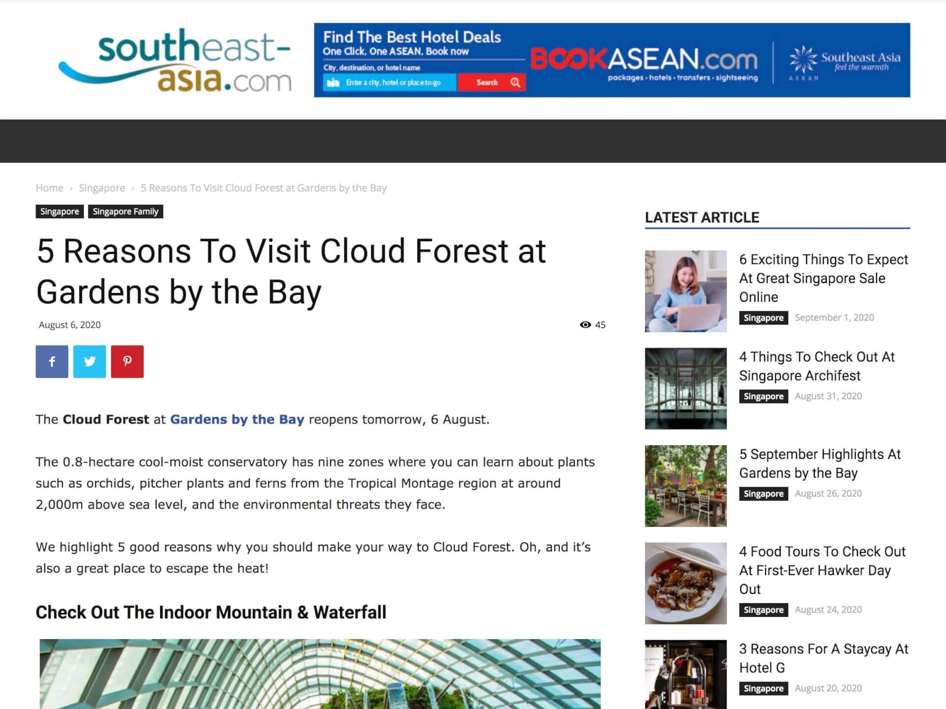 5 Reasons To Visit Cloud Forest at Gardens by the Bay